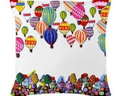 Hot Air Balloons white Folk Art Pillow - Woven Throw Pillow Whimsical Art by Renie Britenbucher