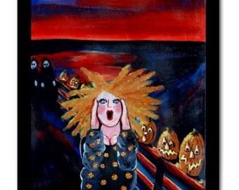 Halloween Scream Diva Fun Whimsical Folk Art Ceramic Tile