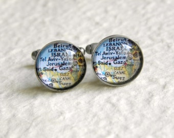 Jerusalem Israel Map Cuff Links Cufflink set - Great for Easter - Also featuring Gaza, Tel Aviv, Yafo, and more