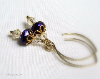Purple Crystal Gold Earrings, Swarovski Moonlight Crystals, Handmade Almond Earwires Heliotrope Drops Gift for Her