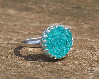 Recycled Vintage Mason Jar Druzy Glass Ring Size