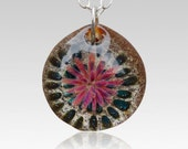 Cremation Pendant Glass Flower Necklace Borosilicate Boro Lampwork, Hand Blown Glass Jewelry - Memorial