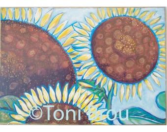 "Print of three sunflowers ""Humble Happy Family"""