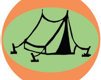 "Camping Stickers - 2"" round retro STICKERS of camping images by Nicole Straburg"