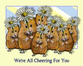 Printable Card or eCard, HAMSTERS with Big Daisies, We're All Cheering You On, Encouragement, Original Art, You Print