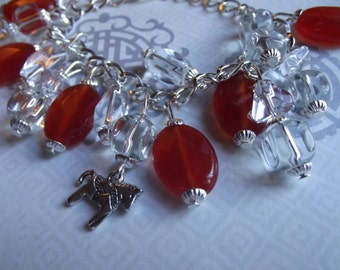 Orange Red Clear Ice Silver Year of the Horse Chinese Astrology Beaded Charm Bracelet