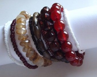 Autumn Tone Beaded Bracelet Stack - To Benefit Heart Strings
