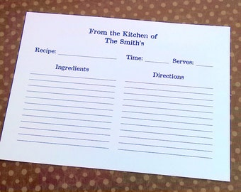 Recipe Cards, Printed Card, Set of 25, Kitchen Card, Gift, Holiday Gift Idea