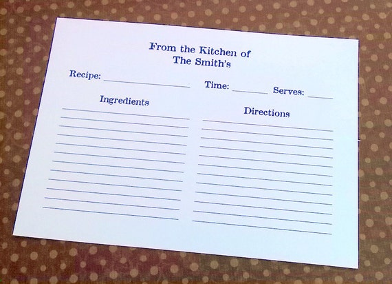Recipe Cards, Personalized, 25 cards, 5x7, party favor, custom birthday present