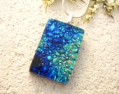 Blue Green Necklace - Dichroic Glass Pendant -  Dichroic Fused Glass Jewelry -  Necklace - Fused Glass - Dichroic Glass - 092514p103