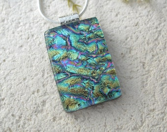 Aqua Necklace,  Dichroic Glass Jewelry, Fused Glass Jewelry, Dichroic Pendant,Silver Necklace, Blue Pink Gold, Dichroic Jewelry, 062716p100d