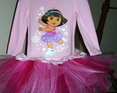 Dora the Explorer  Ice Skating  pink tutu dress size 2t..3t..4t..5t..ready to ship