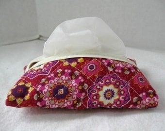 Quilted Tissue Holder Pocket Size Magenta Floral