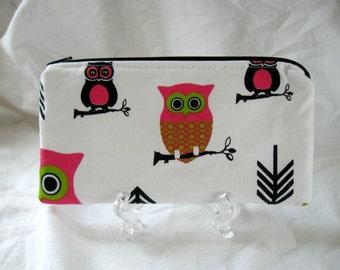 Owl Zipper Pouch - Pink Lime Black - Small Makeup Bag - Owls Cash Holder - Owl Supply Pouch