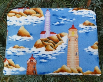 Lighthouses zippered bag, make up bag, accessory bag, The Scooter