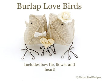 Personalized Wedding Cake Toppers Rustic Woodland Burlap Birds