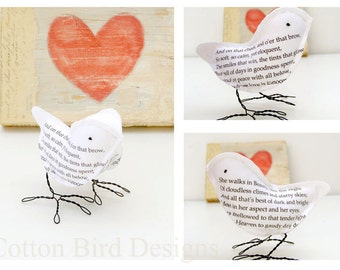 "2nd Wedding Anniversary Cotton Bird ""She Walks in Beauty""  by Lord Byron- Made To Order"