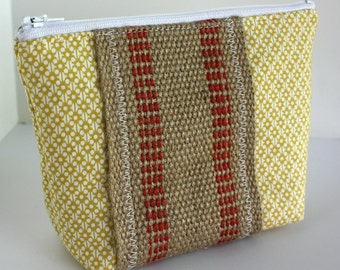 Zipper Pouch - Yellow with Natural Webbing