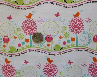 SALE Michael Miller Animal Friends Girl Fabric- Half Yard