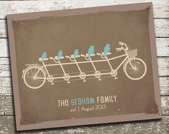 Gift for Husband - Gift for Him - Rustic Home Decor - Birds on a Bicycle Wall Art Print- As Seen In Pregnancy and Newborn Magazine