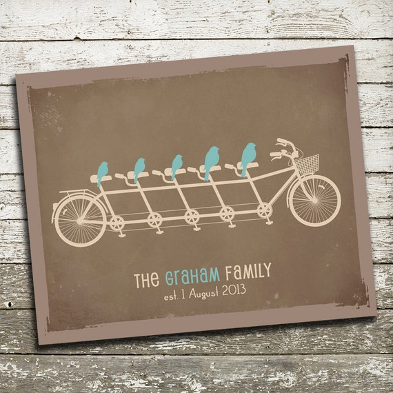 Birds on a Bicycle Wall Art - Gift Print for Families, Anniversaries, Grandparents - Many Sizes and Colors