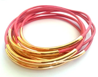 Set of 9 Coral  Bangle Bracelets - Leather Bangle - Leather Bracelet - Boho Bracelet - Boho Leather Bracelet - Boho Stackable Bracelets
