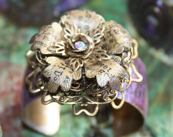 Love Flower/Artist Designed Bracelet/Cuff/Filigree/Victorian/Painted