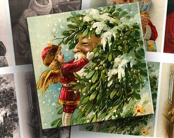 INSTANT DOWNLOAD Combo Pack Set of Two Digital Images Sheet Vintage Christmas Santa Claus Sephia 3.75 Inch Squares for Coasters (CT16,CT17)