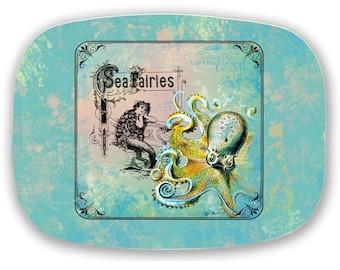 Mermaid Octopus Sea Monster Vintage Sea Fairy Ephemera Melamine Serving Platter Tray