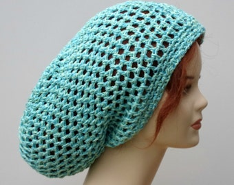 Pure bamboo summer slouchy hat, Dread Snood Sock baggy Slouchy Beanie Hippie Tam Hat teal