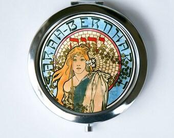 Art Nouveau Compact Mirror Pocket Mirror Girl flowing hair goddess Edwardian Era