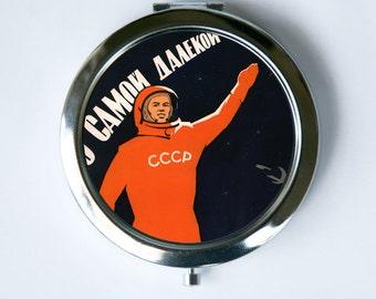 Soviet Astronaut space propaganda  Compact MIRROR Pocket Mirror  USSR cccp