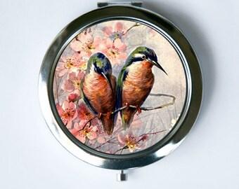 Love Birds Compact MIRROR Pocket Mirror flowers blossoms hummingbirds