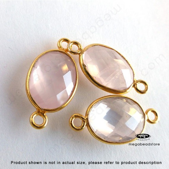 2 pcs 14mm x 10mm Pink Rose Quartz Bezel Gold Gemstone Pendant Connector Wrapped Stone F393