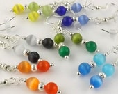 Colorful Cat Eye earrings six pairs for one great low price GREAT STOCKING STUFFERS