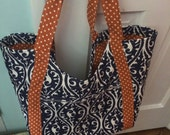 Poolside tote in blue and orange