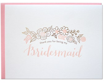 Thank You Bridesmaid Letterpress Card