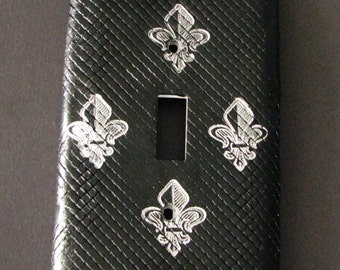 Fleur DeLis Black and Silver Light Switch Cover