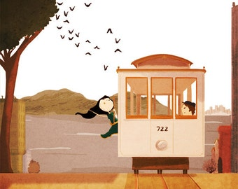 "San Francisco cable car, SF art, blank greeting card - ""Cable car"""