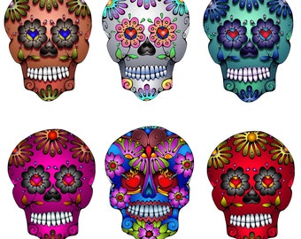 Colorful Sugar Skull Decals Vinyl Car Color Stickers Waterproof OutdoorUse Windows Walls Laptop Skulls Flower Red Blue Pink Silver Green Art