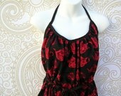 Ladies Apron with Red and Black Teapots LOOK!