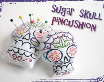 Sugar Skull Calavera Dia De Los Muertos Pin Cushion Skull