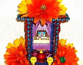 Dia De Los Muertos, Ofrenda Shrine, Mexican Loteria, Day of the Dead, Sugar Skulls, Mexican Wood Nicho, Mexican Kitsch, Mexican Folk Art