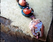 Opal necklace, Mexican fire opal October Birthstone Artisan forged copper Orange gemstone - October's Child
