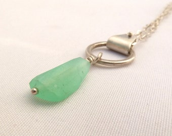Chrysoprase Necklace, Green Chalcedony Pendant, Layering Necklace, Sterling Silver, Faceted Stone, Gemstone Jewelry, Chrysoprase Pendant