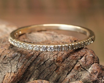 Wedding band 22k gold ring with pave set diamonds