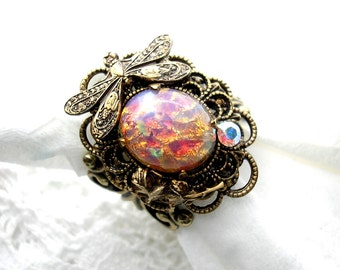 FireOpal Dragonfly Antiqued Brass Ring