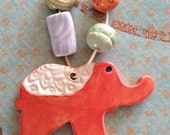 Circus Elephant Ceramic Pendant  and Beads by Yolandas Clay