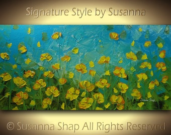 ORIGINAL Contemporary Blue Yellow Poppies Scenic Impasto Landscape Modern Palette Knife Painting by Susanna Ready to Hang 48x24