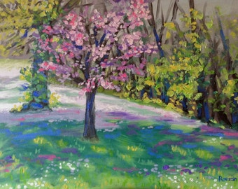 Original Oil Painting Plein Air Landscape, Red Bud in Carondelet, impressionist colorful floral art, spring